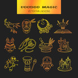 Voodoo African and American magic vector line icons. Royalty Free Stock Photo