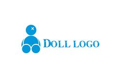 Voodoo broken doll logo. A simplistic logo that depicts a broken voodoo or some similar doll. With the font used it gives out a sense of edginess and disturbance Stock Photography