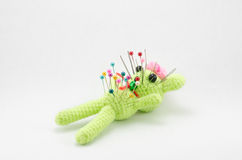 Voodoo crochet doll isolated Royalty Free Stock Photo