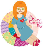 Voodoo doll. With needle in your heart on the multicolour background Royalty Free Stock Images