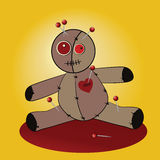 Voodoo Doll. Adorable voodoo doll withstick pins and stiches - witchcraft Royalty Free Stock Photo