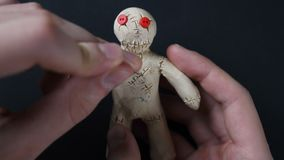Voodoo Doll. Illustration of heartache. stock video