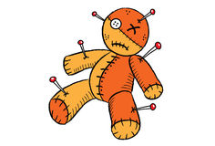 Voodoo doll. Illustration of voodoo doll with needle Royalty Free Stock Photos
