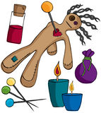 Voodoo Doll Kit. Voodoo Doll and accessories for your print and web projects Royalty Free Stock Images