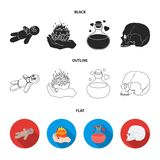 A voodoo doll, a magical fire, a love potion, a skull.Black and white magic set collection icons in black,flat,outline. Style vector symbol stock illustration Stock Image