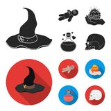A voodoo doll, a magical fire, a love potion, a skull.Black and white magic set collection icons in black, flat style. Vector symbol stock illustration Royalty Free Stock Images