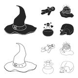 A voodoo doll, a magical fire, a love potion, a skull.Black and white magic set collection icons in black,outline style. Vector symbol stock illustration Royalty Free Stock Images