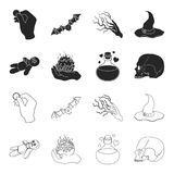 A voodoo doll, a magical fire, a love potion, a skull.Black and white magic set collection icons in black,outline style. Vector symbol stock illustration Stock Photography