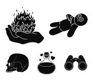 A voodoo doll, a magical fire, a love potion, a skull.Black and white magic set collection icons in black style vector. Symbol stock illustration Royalty Free Stock Photo