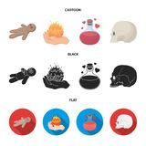 A voodoo doll, a magical fire, a love potion, a skull.Black and white magic set collection icons in cartoon,black,flat. Style vector symbol stock illustration Stock Images