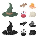 A voodoo doll, a magical fire, a love potion, a skull.Black and white magic set collection icons in cartoon,black style. Vector symbol stock illustration Stock Images