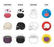 A voodoo doll, a magical fire, a love potion, a skull.Black and white magic set collection icons in cartoon,black. Outline,flat style vector symbol stock Royalty Free Stock Image