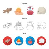 A voodoo doll, a magical fire, a love potion, a skull.Black and white magic set collection icons in cartoon,outline,flat. Style vector symbol stock illustration Stock Image