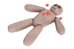 Voodoo doll with needles, 3D rendering Royalty Free Stock Photography