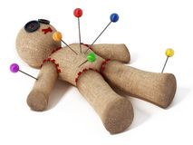 Voodoo doll with needles isolated on white background.  Stock Photography