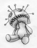 Voodoo doll pencil sketch. Hand drawn pencil sketch of a headache or migraine pictured as voodoo doll with lots of sharp pins in its head. And it has a zipper Royalty Free Stock Images