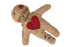 Free Voodoo Doll With In Burlap Fabric, Isolated On White. Stock Images - 164972794