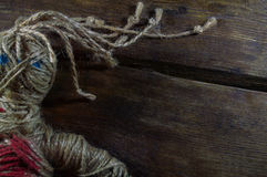 Voodoo Doll. On wooden background Stock Photos