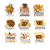 Voodoo en magische reeks voor etiketontwerp Geestelijke, magische, culturele vectorillustraties royalty-vrije illustratie