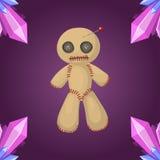 Voodoo Ikonenbestrafungszeichengeistigkeits-Ärgers der Puppe magisches Spielzeug des flachen und Halloween-Nadelhexereihorrorsymb lizenzfreie abbildung