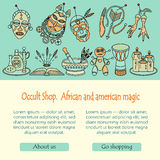 Voodoo magic web template. Mystic card with place for your text. Royalty Free Stock Photo