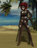 Voodoo priestess at the beach Royalty Free Stock Photo
