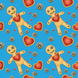Voodoo seamless background. Voodoo background. Black magic voodoo doll with red heart Vector Illustration