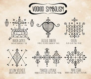 Voodoo spiritual dieties symbols set. Royalty Free Stock Images
