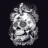 Voodoo Sugar Skull. T-shirt or poster print design Royalty Free Stock Photography