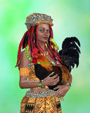 VooDoo Woman. Afro American woman holding a rooster with a snake around her neck Stock Photo