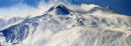 Voolcan. Mount Etna in winter view of the craters Stock Photography