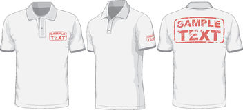 Voor, achter en zijaanzichten van polo-overhemd Vector Stock Afbeeldingen