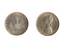 Voor achter Italiaans muntstuk Royalty-vrije Stock Foto