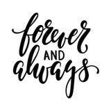Voor altijd en altijd Hand het getrokken creatieve kalligrafie en borstelpen van letters voorzien geïsoleerd op witte achtergrond royalty-vrije illustratie