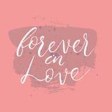 Voor altijd in liefdetekst Kaart met kalligrafie Stock Foto
