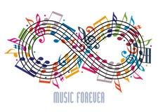 Voor altijd muziekconcept, oneindigheidssymbool met muzieknoten a wordt gemaakt die Royalty-vrije Stock Afbeelding