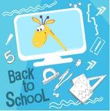 Voor de jongste kinderen Terug naar school vectorillustratie Het beeldverhaal van de stijlstrippagina over school De giraf op het vector illustratie