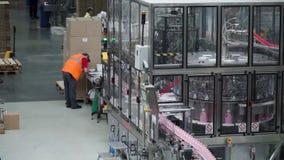 Voor de productie van plastic flessen en flessen op een transportbandfabriek klem Transportbandsysteem bij de installatie stock videobeelden