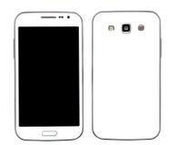Voor en achter slimme telefoon op wit Stock Foto's