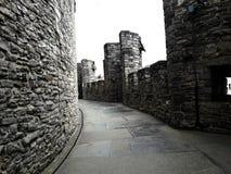 Voor het dak, binnen van het middeleeuwse Kasteel van kasteelgravensteen van de Tellingen op bewolkte dag, steenmuren en balustra stock fotografie