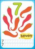 Voor het drukken geschikt aantekenvel voor kleuterschool en kleuterschool Oefeningen voor het schrijven van aantallen De heldere  vector illustratie