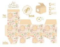 Voor het drukken geschikt de Appeltaartpatroon van de Giftdoos Royalty-vrije Stock Afbeelding