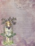 Voor het drukken geschikt Digitaal Document - de Uitstekende Illustratie van de Tuinbloem - Verontruste Texturen - Tuinfee - Kind royalty-vrije illustratie