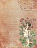 Voor het drukken geschikt Digitaal Document - de Uitstekende Illustratie van de Tuinbloem - Verontruste Texturen - Tuinfee - Kind stock illustratie