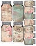 Voor het drukken geschikt Markeringsblad - Uitstekend Verontrust Mason Jar Collage Floral Tags - - Boerderijstijl royalty-vrije stock foto
