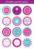 Voor het drukken geschikte cupcaketoppers Royalty-vrije Stock Afbeelding
