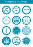 Voor het drukken geschikte cupcaketoppers voor de dag van de vader Royalty-vrije Stock Fotografie