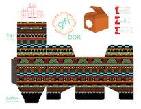 Voor het drukken geschikte Giftdoos met Geometrisch Patroon Royalty-vrije Stock Afbeeldingen