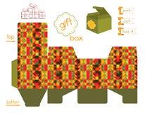 Voor het drukken geschikte Giftdoos met Mozaïekpatroon Stock Afbeeldingen