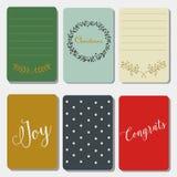 Voor het drukken geschikte journaling Kerstmiskaarten, gelukkig nieuw jaar Royalty-vrije Stock Fotografie